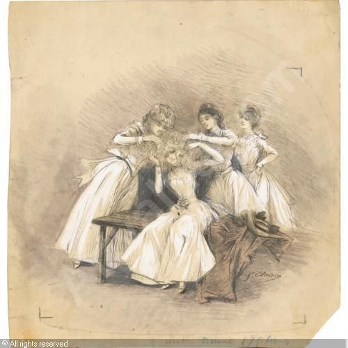 Scenes of Sarah Bernhardt's life, when she was a teenager, (4) sold by Sotheby's, Paris, on Thursday, June 23, 2011