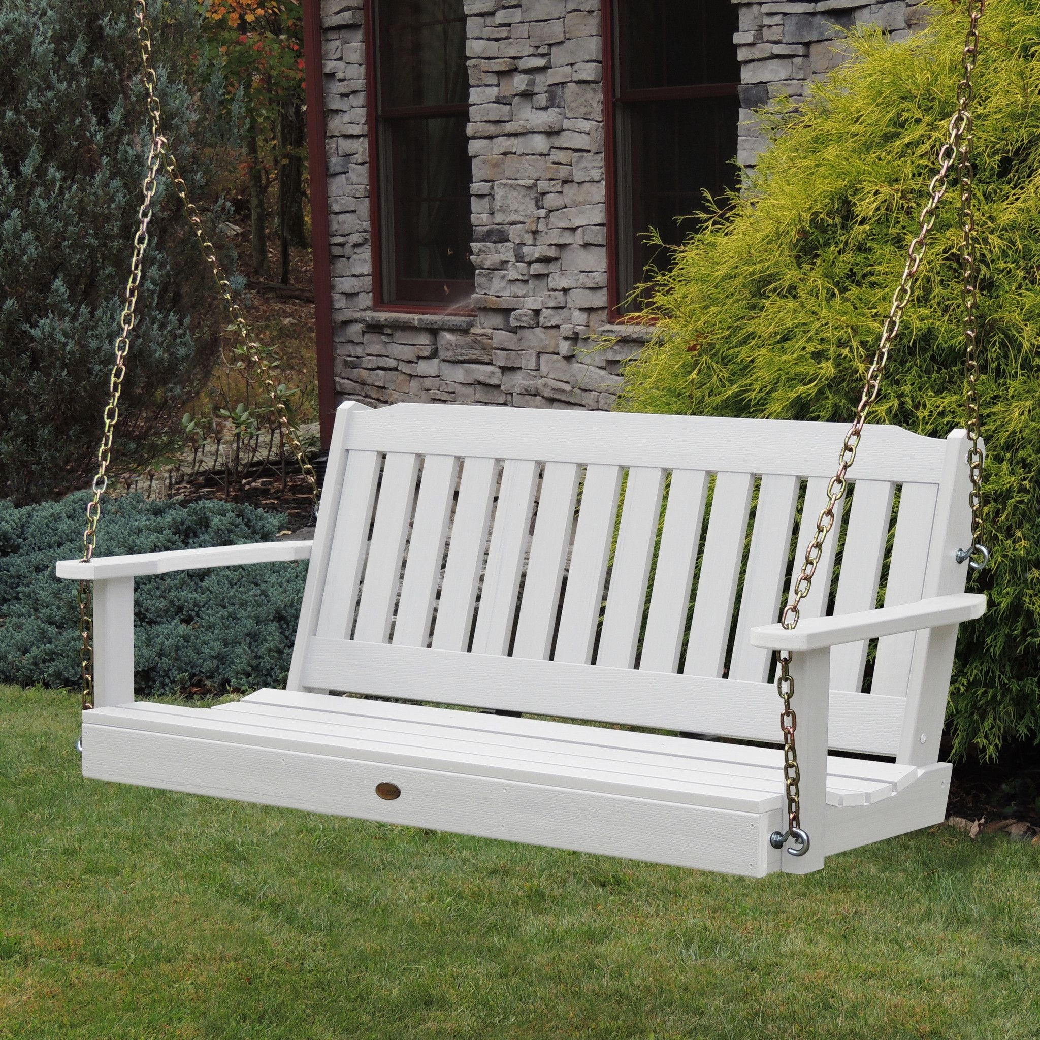 Highwood USA 5ft Lehigh Porch Swing EcoFriendly Synthetic