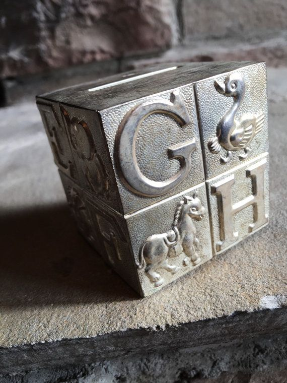 Vintage Baby Bank Silverplate A B C Alphabet by MyVintageAlcove