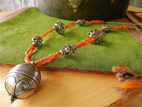 Old Turkoman Silver Globe Bead Pendant on Coral and Silver Necklace