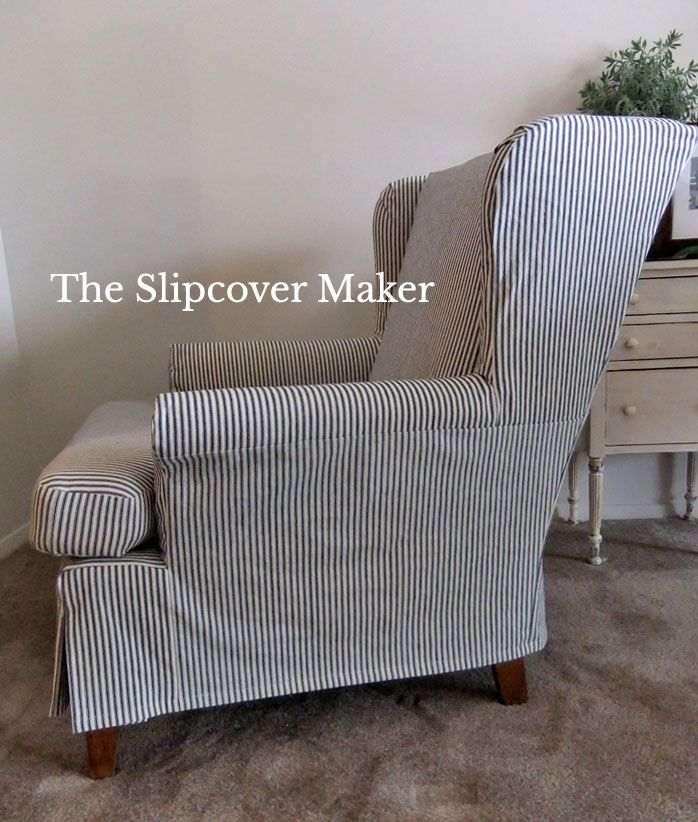 Old Ticking Stripe for New Slipcover is part of Slipcovers for chairs - Back in 2014 I posted Ticking Stripe Fabric Reviews  At that time I tested a variety of ticking stripes all of which turned out to be too light weight, too limp or too narrow for slipcovers  My sea…