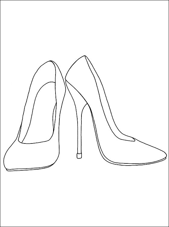 Heels Coloring And Printable Page Coloring Pages Shoes Drawing
