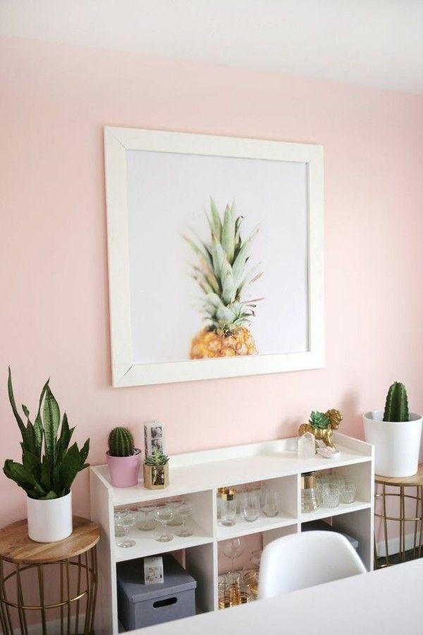 Wandfarbe Apricot Wohnbereich Frisch Gestalten Weiße Möbel Kakteen
