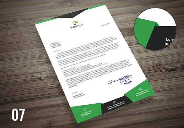 green creative psd letterhead template design download graphicriver
