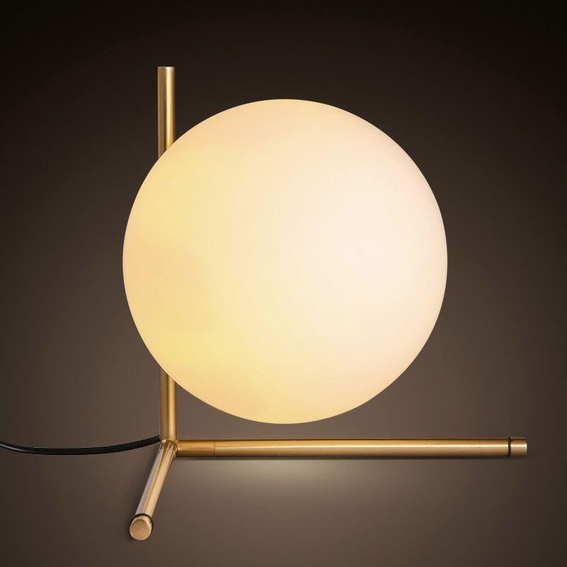 Lovely Cattel Modern Globe Glass Shade Slender Frame Table Lamp In Brass   Table  Lamps   Lamps