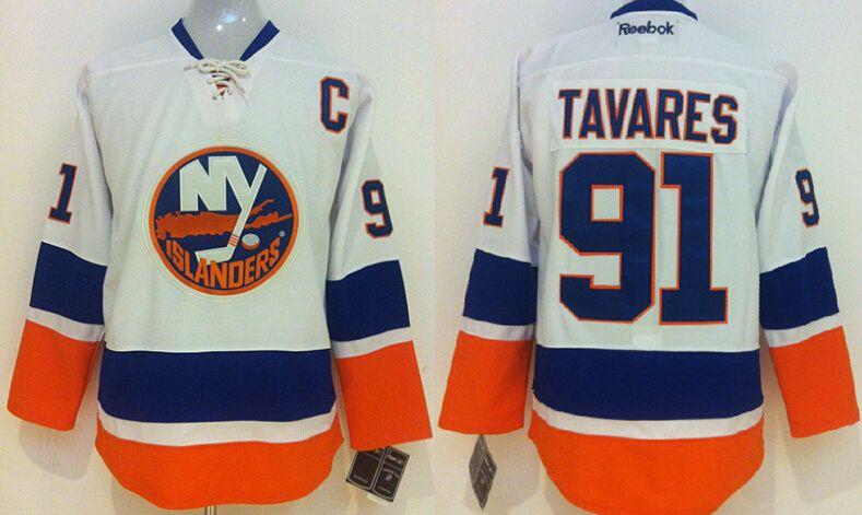 the best attitude d6460 06428 New York Islanders #91 John Tavares White Jersey | NHL ...