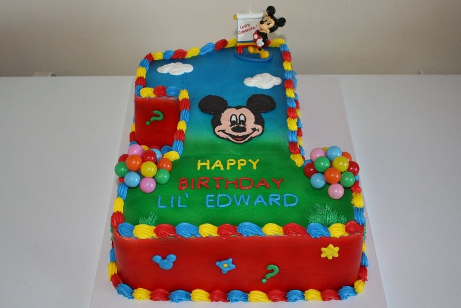 Surprising Mickey Mouse Clubhouse 1St Birthday Cake Mickey Mouse Clubhouse Personalised Birthday Cards Bromeletsinfo