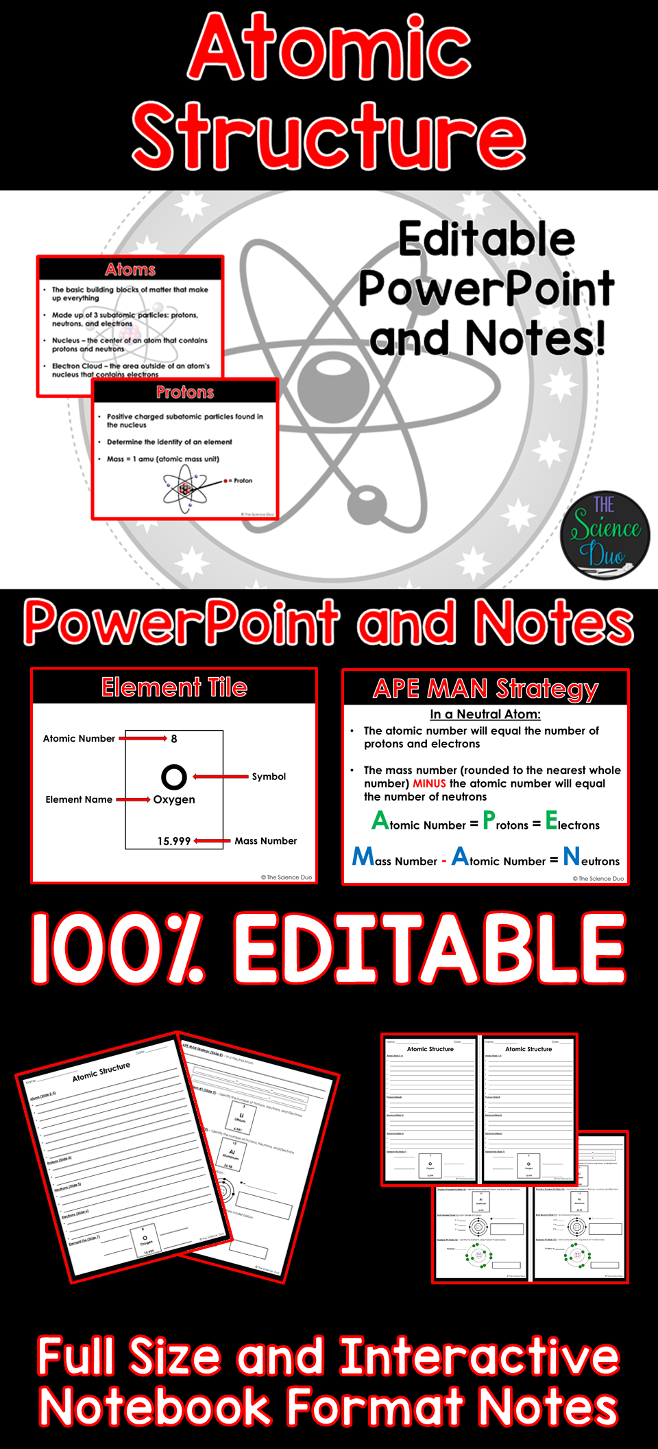 Atomic structure powerpoint and notes pinterest periodic table this presentation covers atomic structure protons electrons neutrons periodic table element tiles and bohr models this resource includes a 19 slide urtaz Image collections