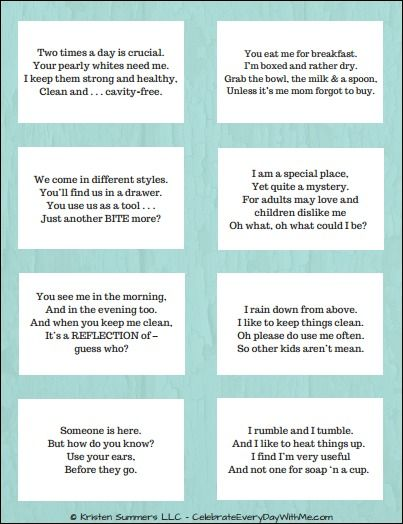 Rhyming Riddle Scavenger Hunt for Your Kids {Free Printable ...