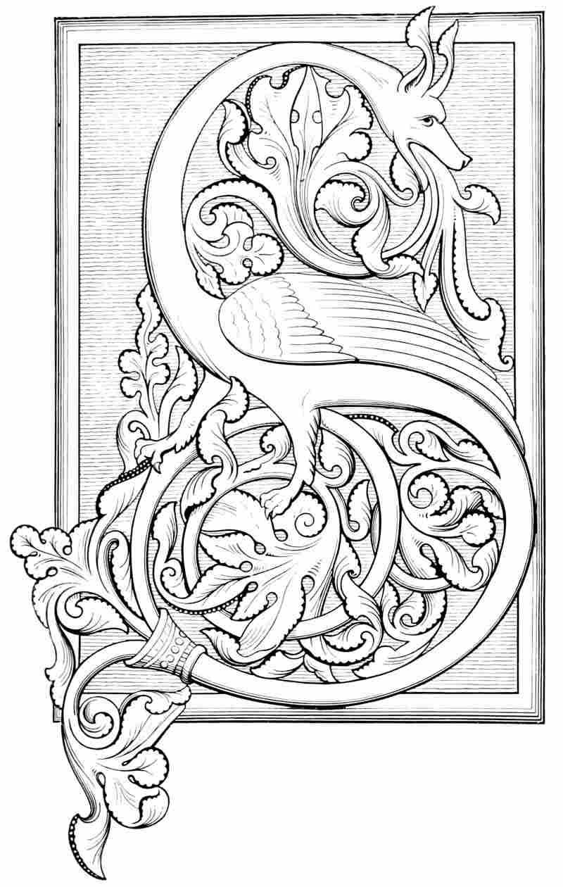 Scrittura Gotica Italiana Alfabeto An Initial S Illuminated With Foliage Of The Northumbrian Type