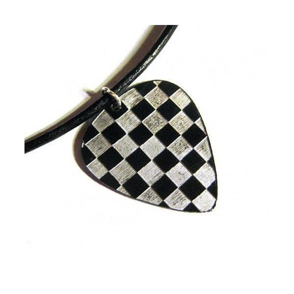 engraved checkerboard guitar pick necklace on leather cord |... ($9.95) ❤ liked on Polyvore featuring jewelry, necklaces, accessories, collares, engraving necklaces, guitar pick jewelry, guitar pick necklace, engraved necklaces and leather cord necklace