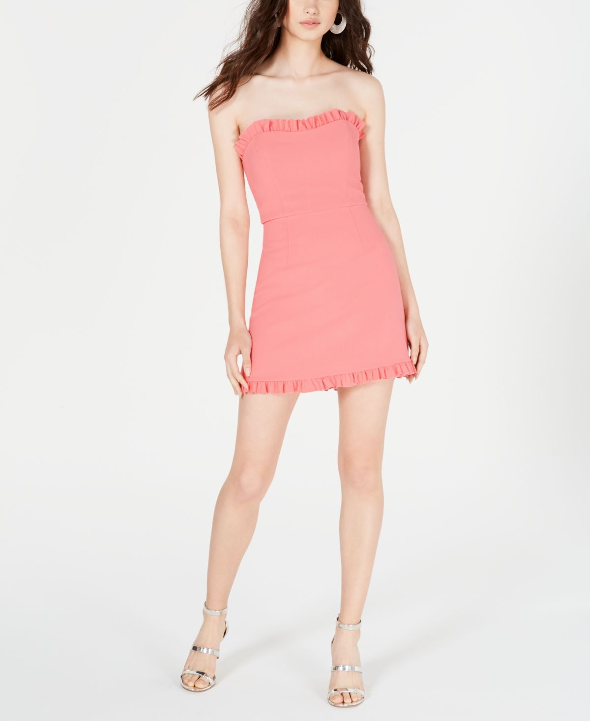 French Connection Ruffled Strapless Dress Pink Whip Strapless Ruffle Dress Dresses Review Dresses [ 1466 x 1200 Pixel ]