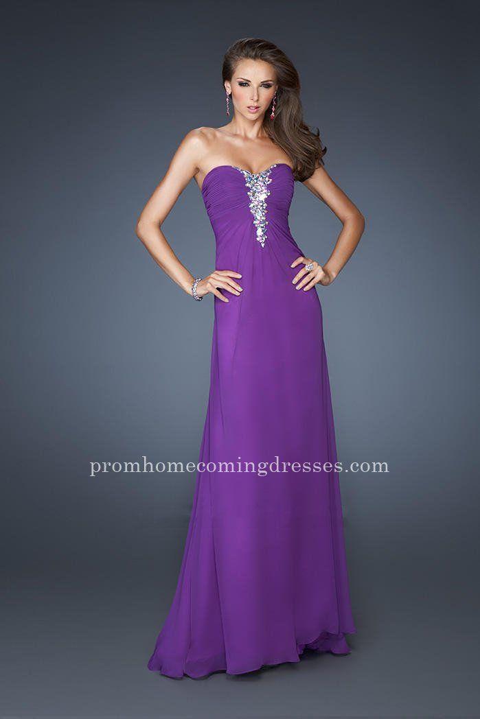 Beading La Femme 19009 Full Length Strapless Majestic Purple Prom Dresses