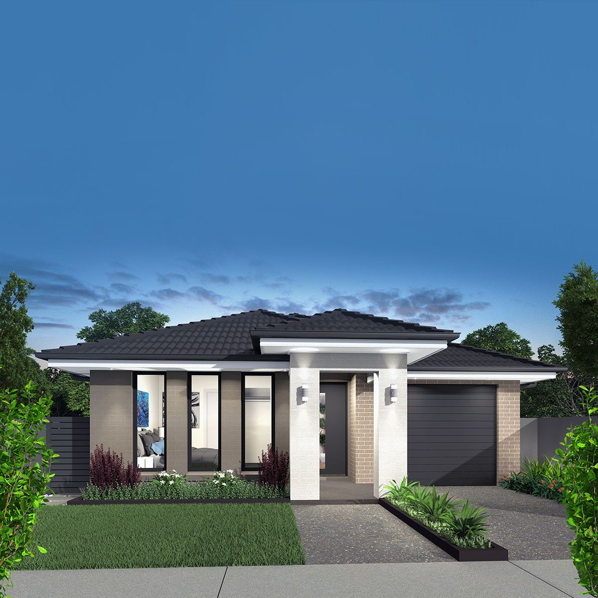 Broadway Single Storey Home Design With Mona Facade (With