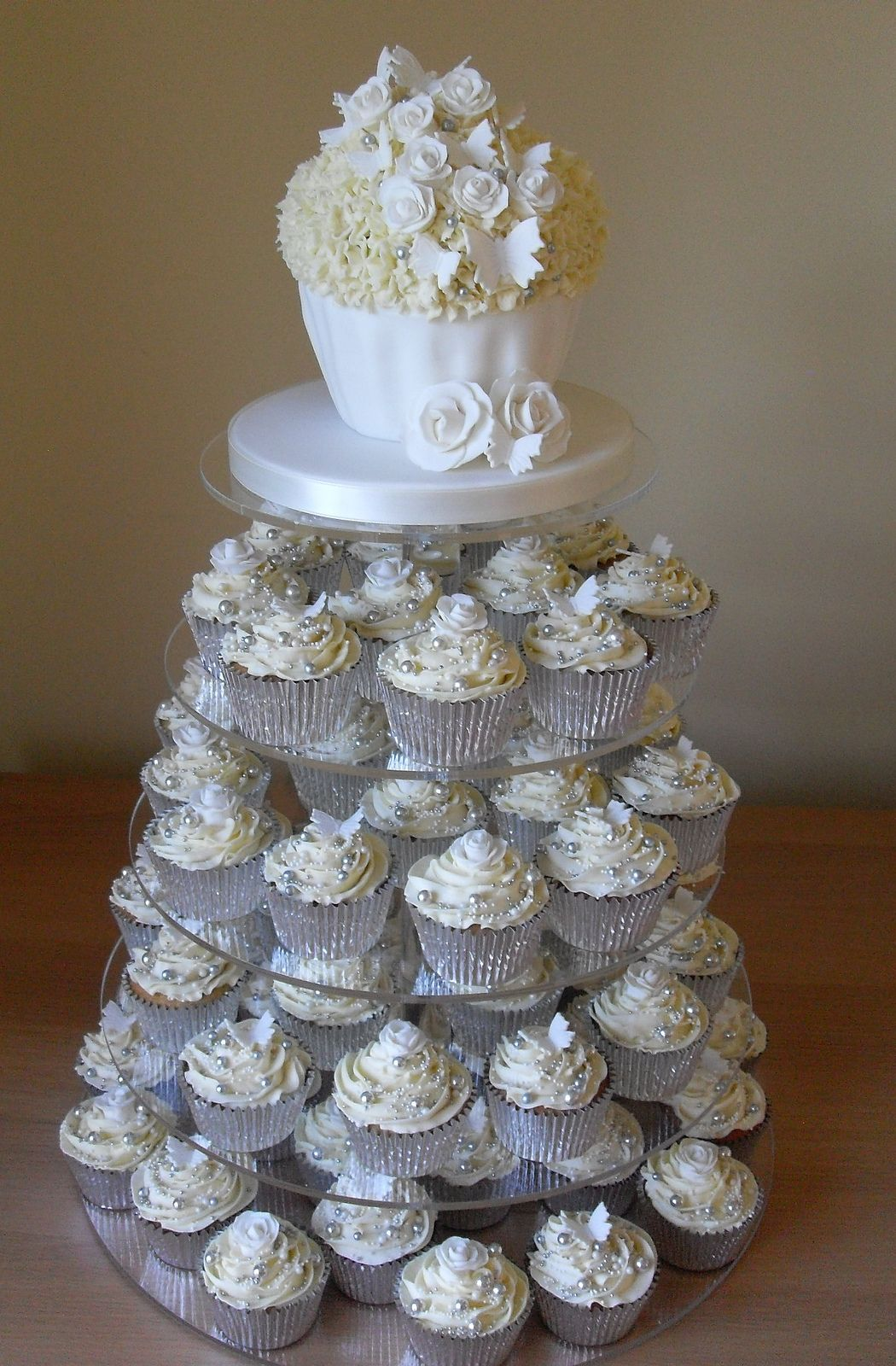 White And Silver Wedding Cupcake Tower