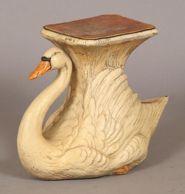 Ceramic swan garden pedestalplanter 19 12H x 26W Side
