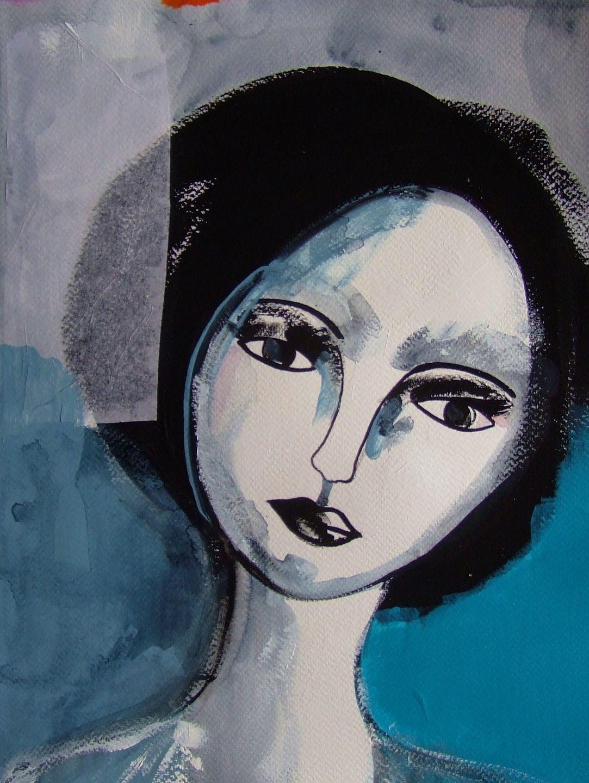 portrait femme peinture visage femme portrait sur papier. Black Bedroom Furniture Sets. Home Design Ideas