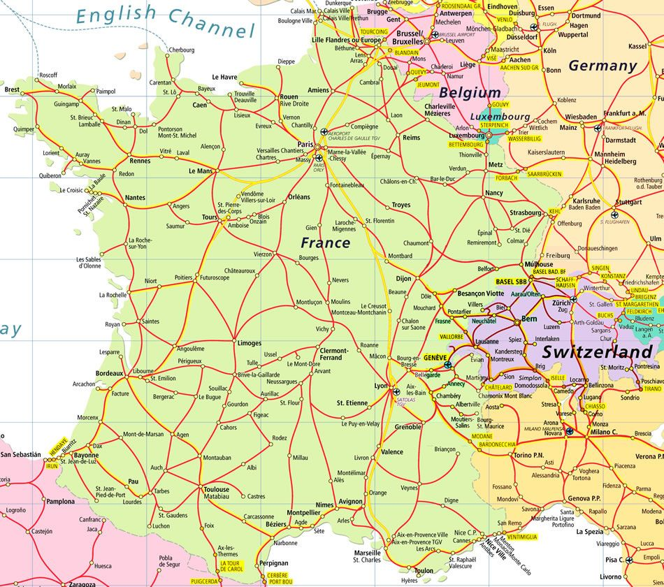 Rail Map of France etc. | Travel | Pinterest | France map, France ...