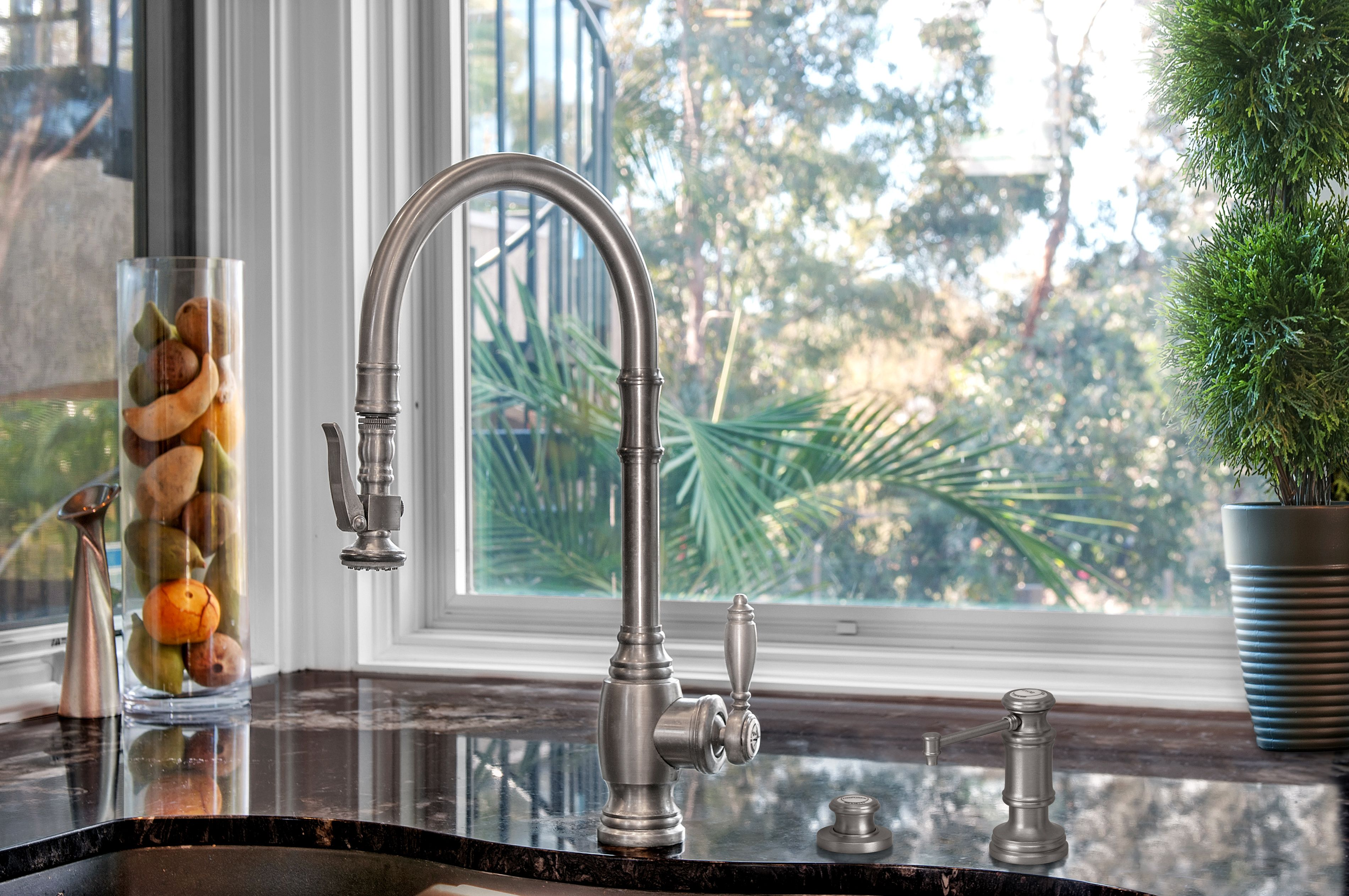 A Waterstone 5500 Pulldown Faucet with matching accessories. Cool ...