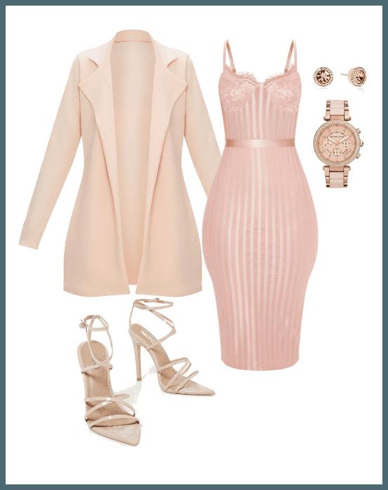 Rose Gold Rosegold Dress Pinkjacket Pinkdress Jacket Coat Watch Pinkheels Heels Strappystilettoheel Pink Dress Outfits Blush Outfit Fashion Outfits