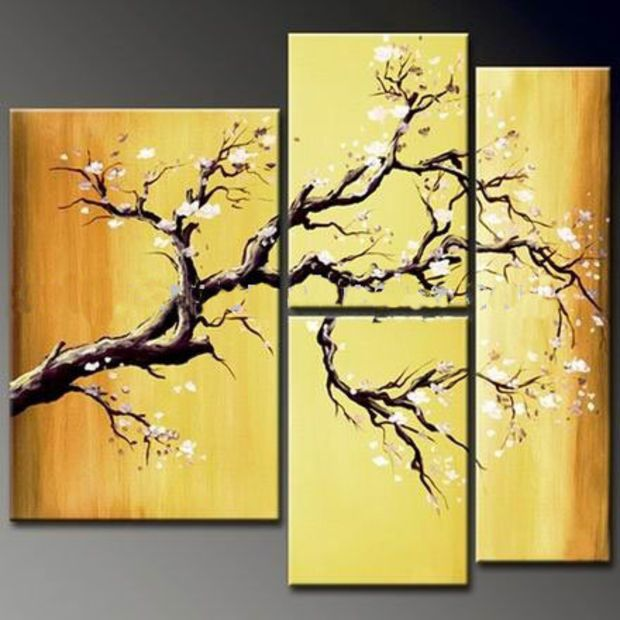 Warm Nature Oil Painting Landscape Tree Hand Asian Zen Painted Wall ...
