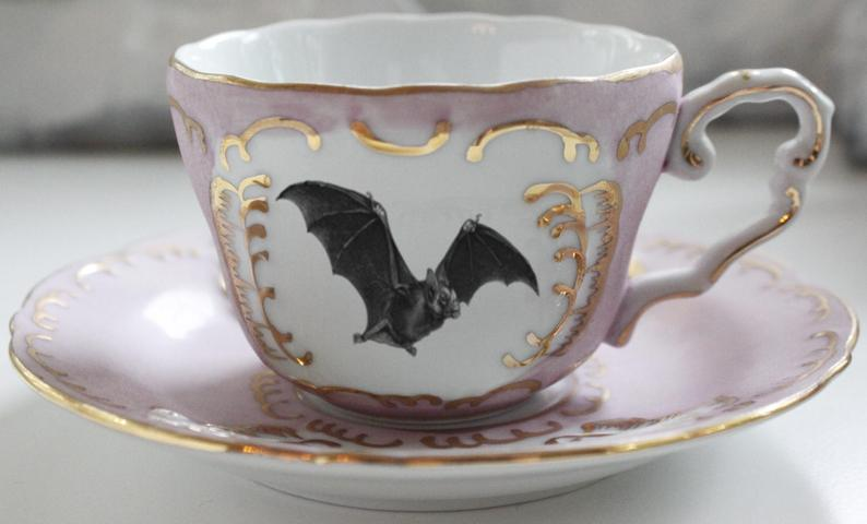 Pink or Green & Gold Bat Teacup, Bat Tea Set, Bat Teacup, Halloween Tea, Bat china, Bat Plates, Bat Porcelain, Bat plate, Bat Cup, Bat Mug #teasets