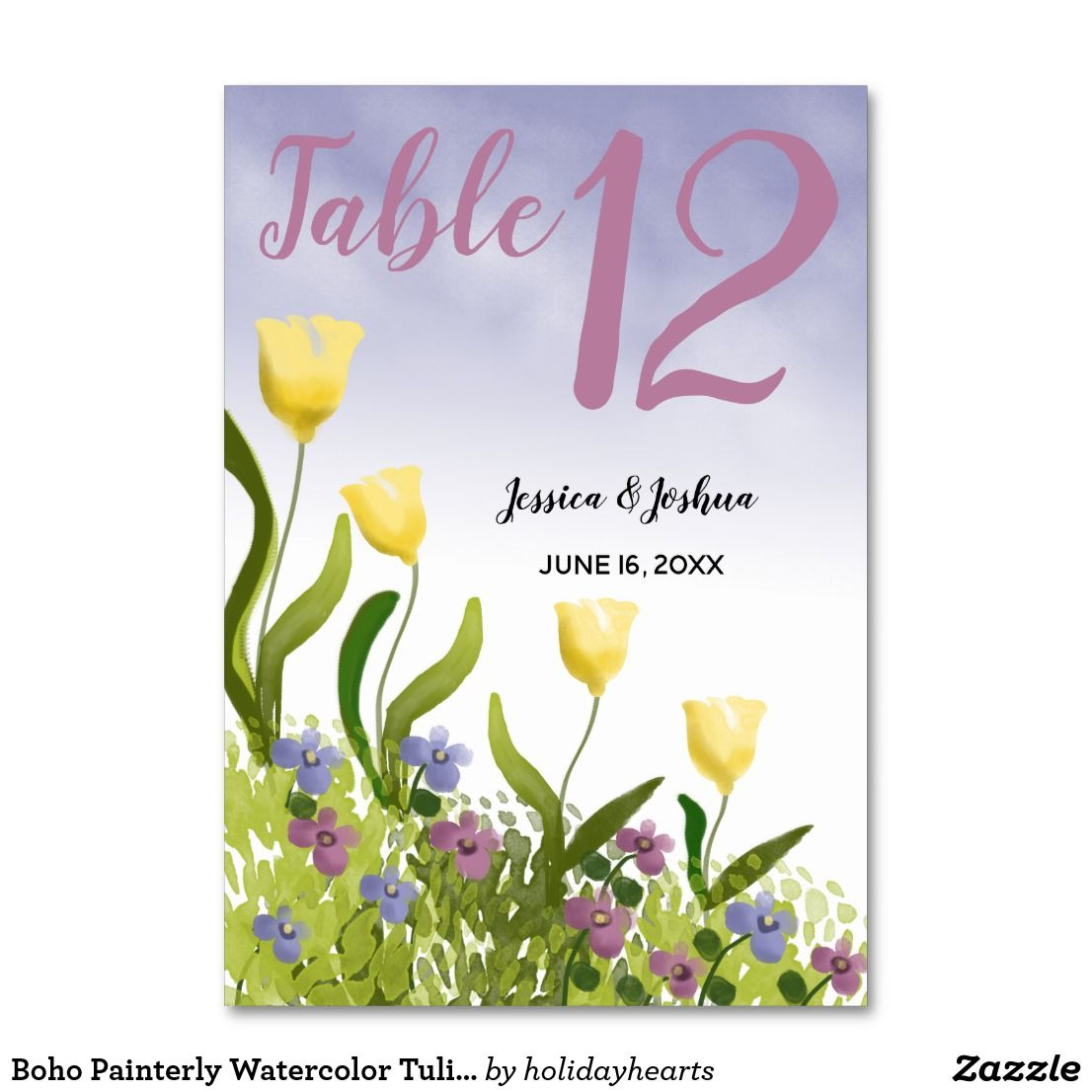 Boho Painterly Watercolor Tulips Violets Wedding Card Table