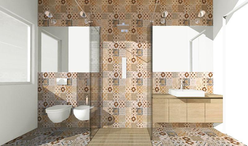 Una doccia passante per un bagno stretto e lungo foto