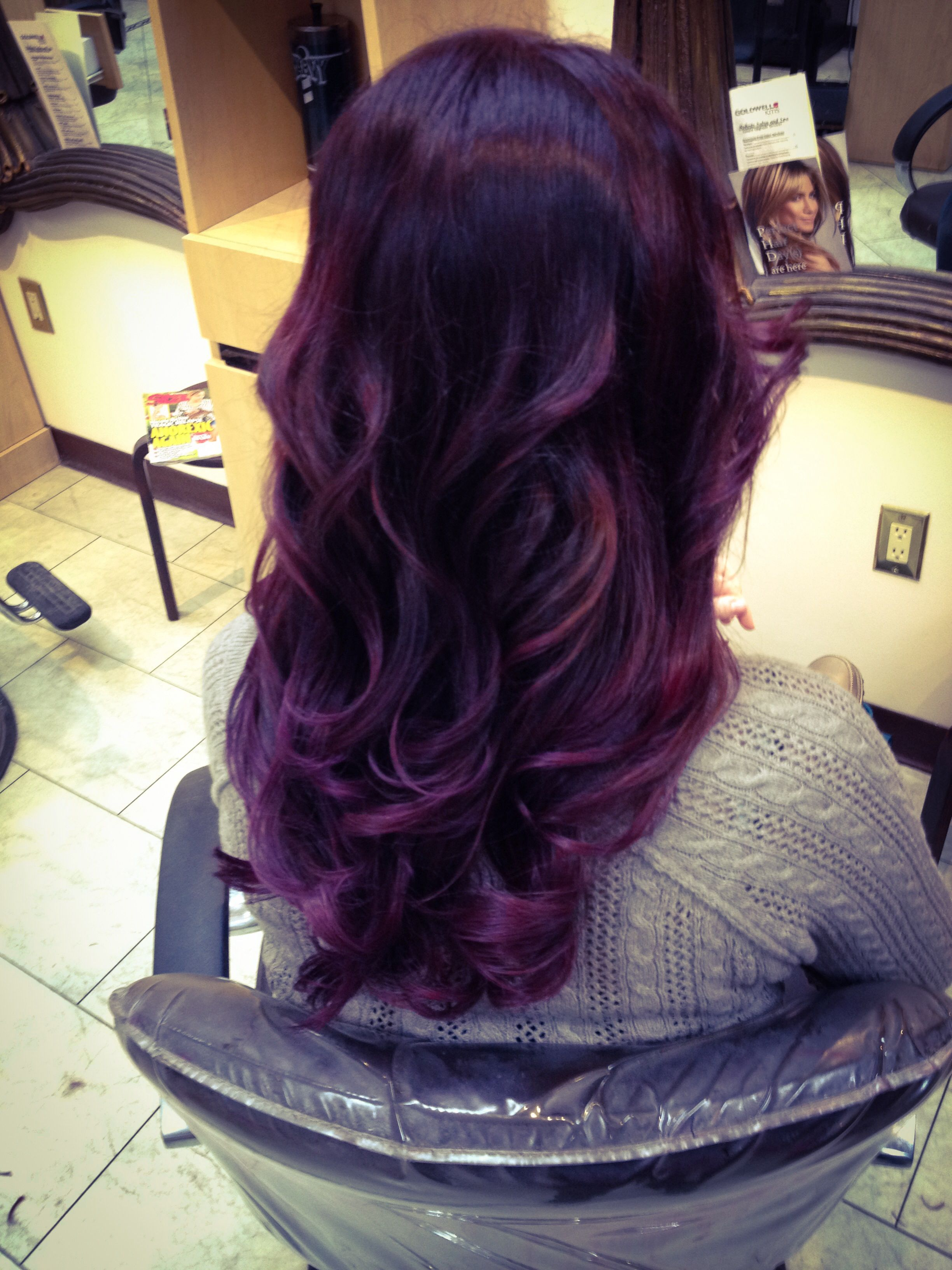 deep purple hair ombr