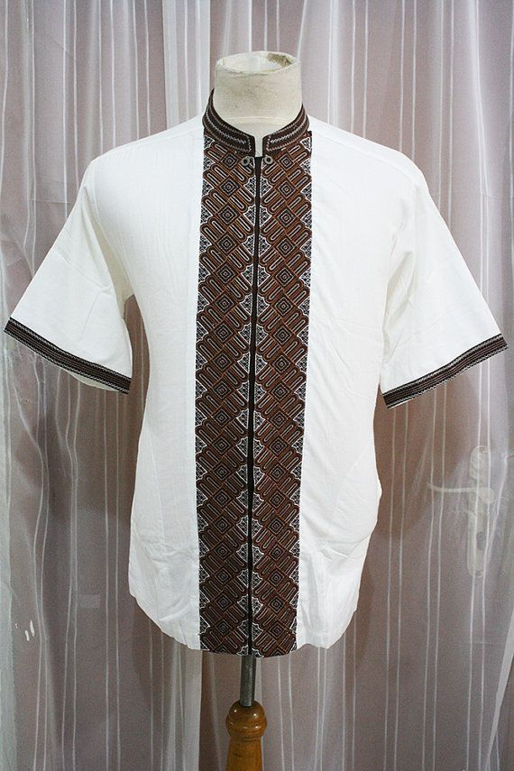 Eid Muslim Clothing Ivory Cotton Shirt Indonesian