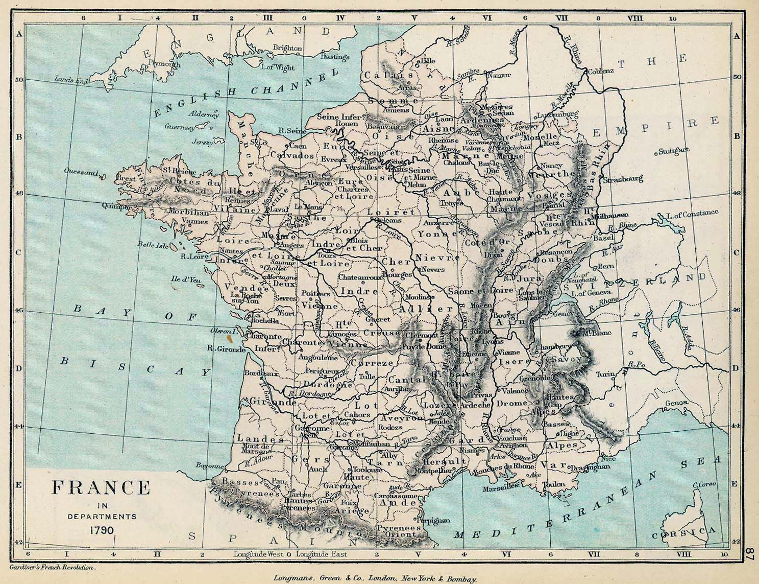 Map Of France Versailles.Map Of France In Departments 1790 French Revolution French