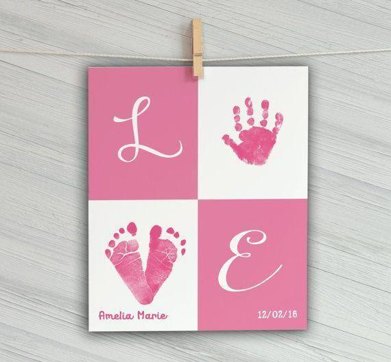 Custom Baby Handprint Wall Art - Nursery Decor - N