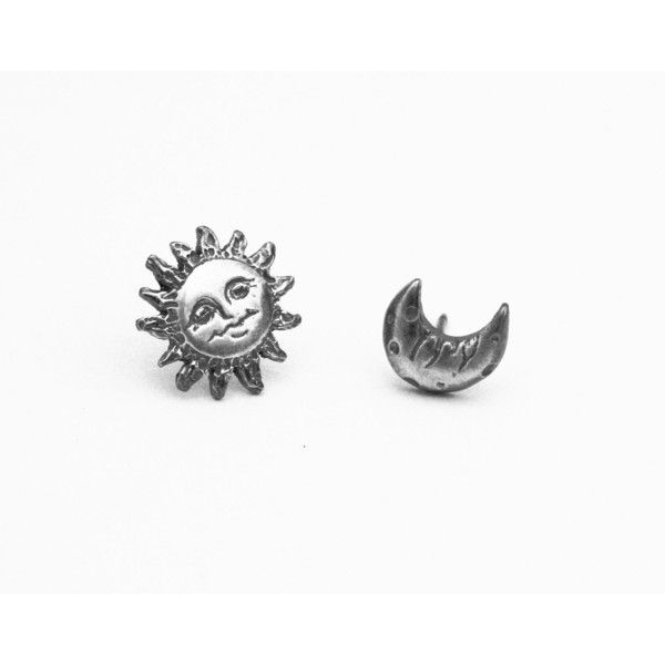 e253ab0b0 Sun Moon Earrings in sterling silver, Sun and Moon Studs, Simple... ($95) ❤…