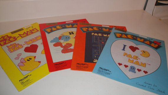 Counted Cross Stitch Charts Pac Man Complete set of by CraftySara, $35.00