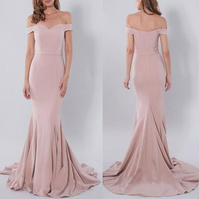 Charming Off The Shoulder Blush Pink Mermaid Y Long Bridesmaid Dresses Pm0231