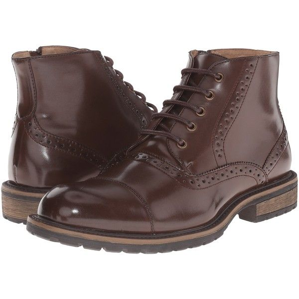 Steve Madden Scribe (Brown) Men's Dress Lace-up Boots ($45) ❤