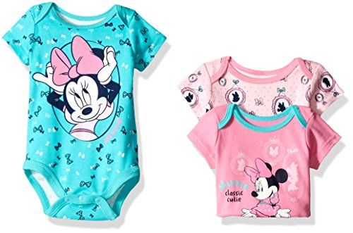 Disney Baby Girls 3 Pack Of Minnie Mouse Bodysuits Pink 03 Months