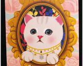 """Carte postale chat jolie impression matte série flower """"modèle 3"""" x1 cat postcards : Papeterie, carterie par lilycherry"""