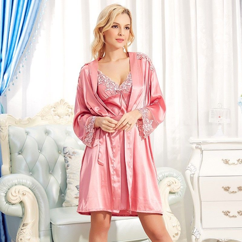 Women\'s Silk Nightgown & Robe Set 2 PCs #S841 | Silk sleepwear ...