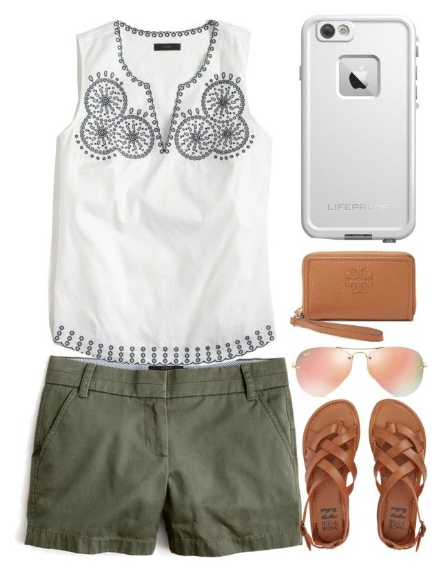 """""""Shopping today"""" by hollymorgs ❤ liked on Polyvore featuring J.Crew, Billabong, Tory Burch, LifeProof and Ray-Ban"""