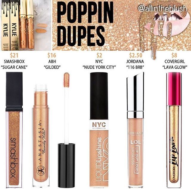 """Kylie cosmetics """"poppin"""" dupes"""