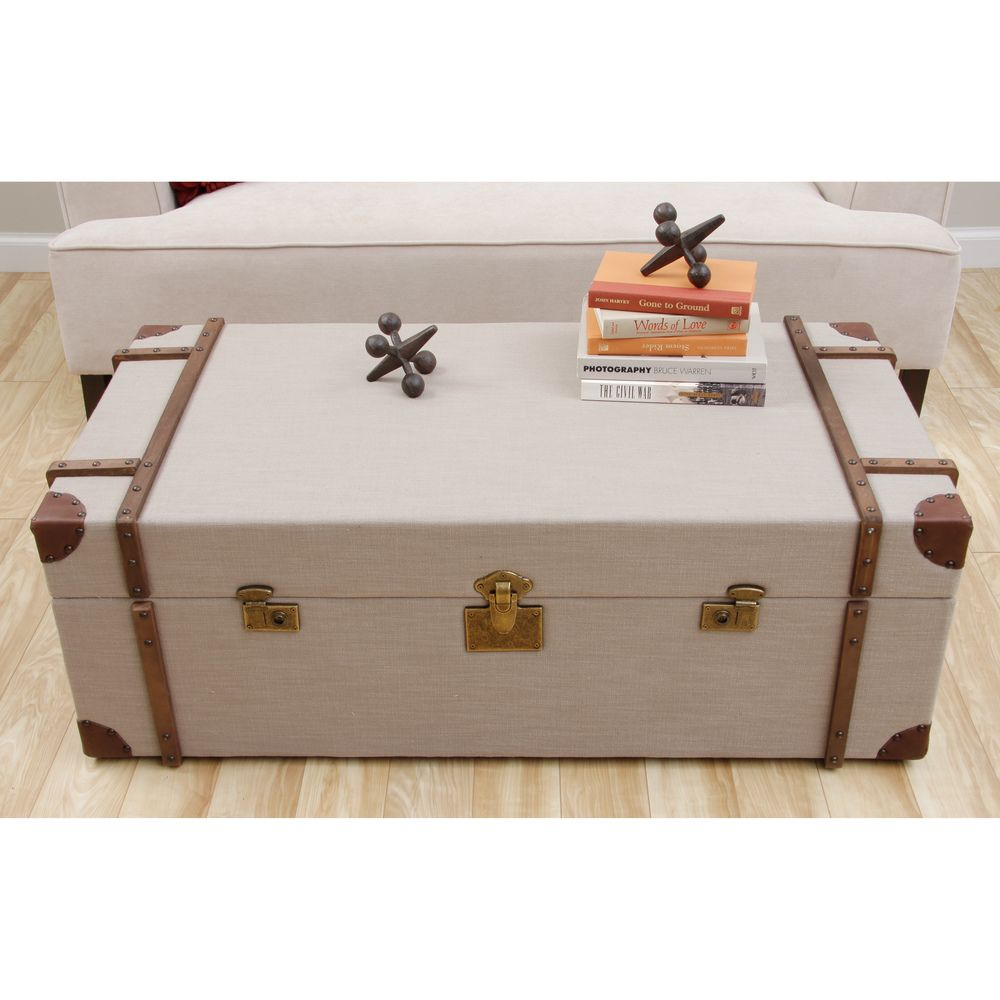 Journey Beige Linen Trunk Coffee Table Trunk Coffee Tables And Linens