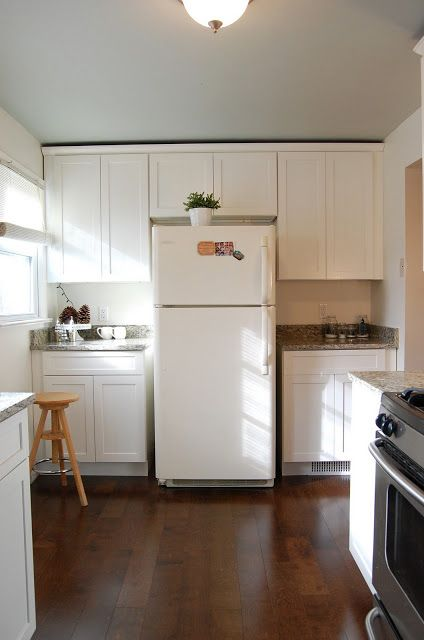Ceiling color: Quiet Moments by Benjamin Moore Kitchen cabinets: Swiss Coffee by Behr #swisscoffeebenjaminmoore