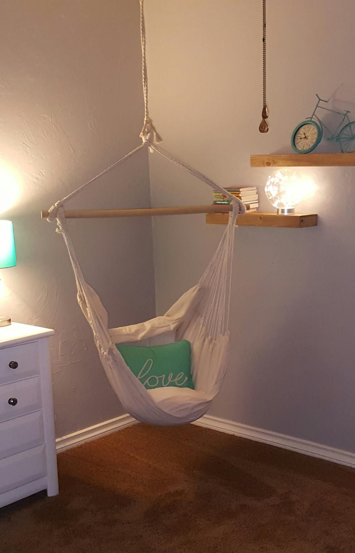 Swing Hanging Hammock Chair With Two Cushions
