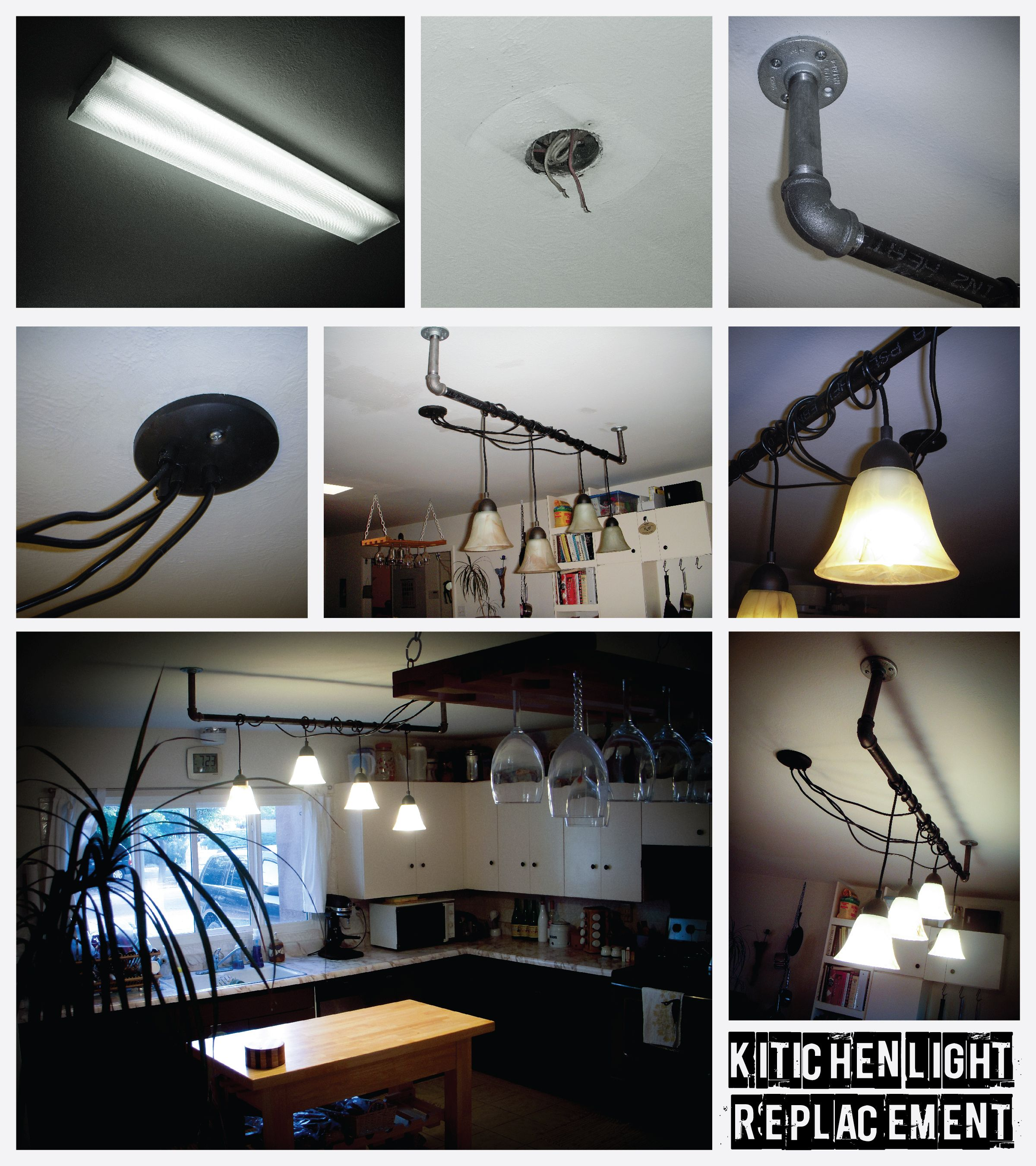 Fluorescent Kitchen Light Replacement Project. Industrial