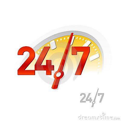Servicio 24/7. Vector.