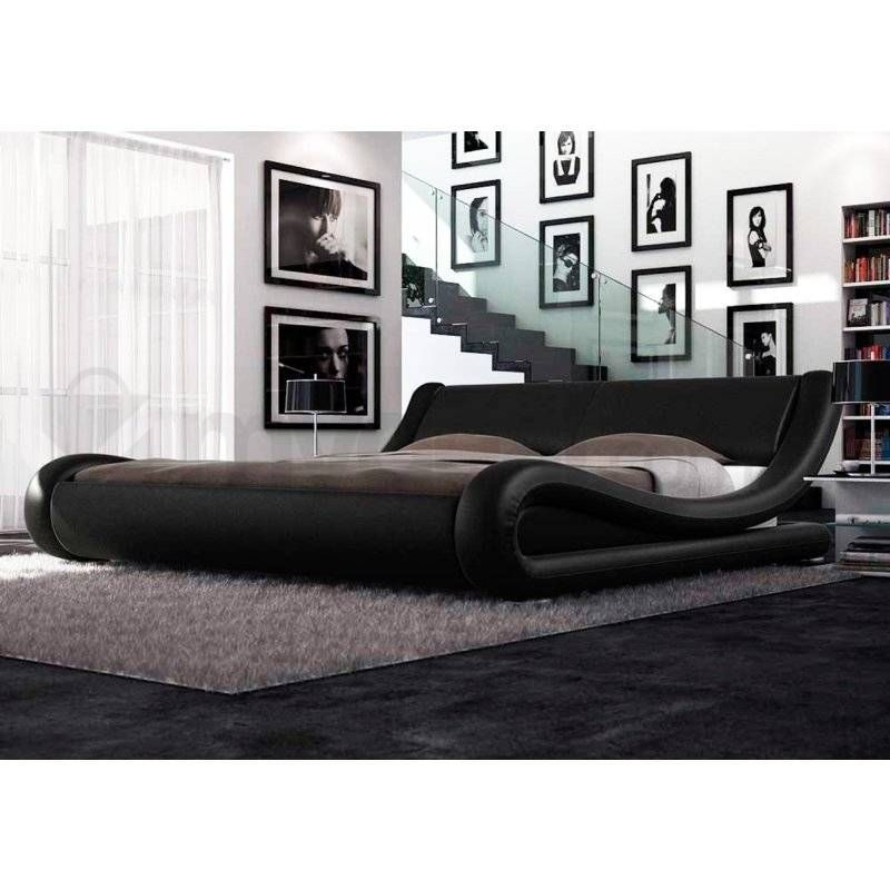 leonardo queen pu leather curved bed frame in black buy new arrivals - Buy Queen Bed Frame
