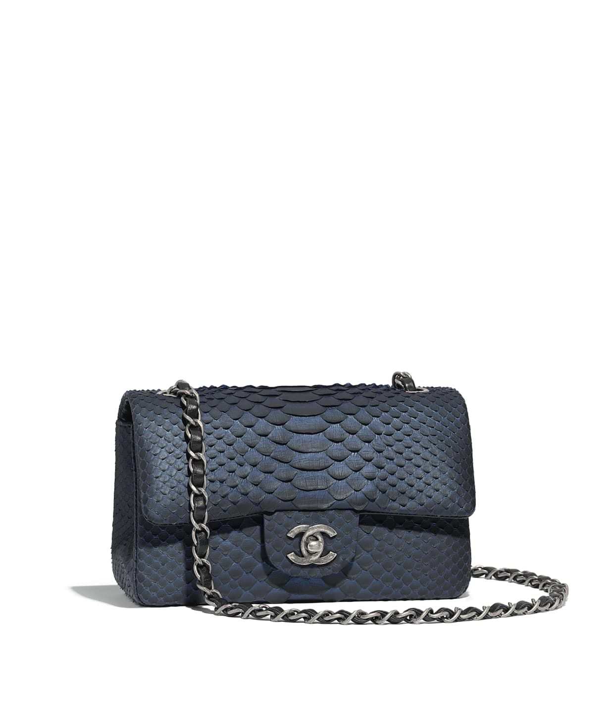 30191a486a8b Discover the CHANEL Python & Ruthenium-Finish Metal Blue & Black Mini Flap  Bag, and explore the artistry and craftsmanship of the House of CHANEL.