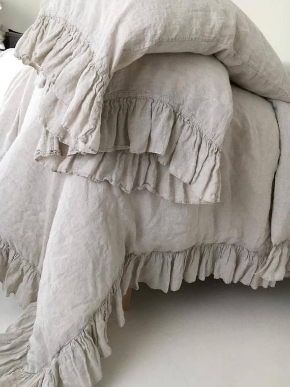 LINEN DUVET COVER .  Linen bedding set . Shabby Chic linen ruffled duvet cover  with ruffles. Softened and washed linen. MOOshop new *91,  #bedding #Chic #Cover #DUVET #Linen #MOOshop #RUFFLED #ruffles #Set #Shabby #Softened #Washed,  #DiyAbschnitt, Diy Abschnitt,