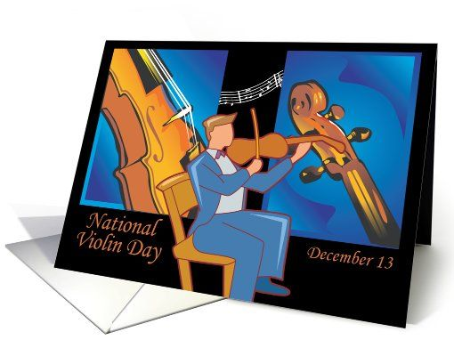 Other card: Violin Day December 13 Greeting Card by Rita Ballantyne